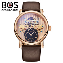 ANGELA BOS Gold Watch Man Waterproof Sapphire Business Mechanical Automatic Wrist Watch Clock Men Montre Homme Relogio Masculino