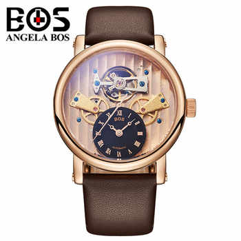 Reloj Hombre ANGELA BOS Luxury Brand Gold Automatic Watch Mens Waterproof Sapphire Dress Mechanical Wrist Watches Clock Man 2019 - DISCOUNT ITEM  50% OFF All Category