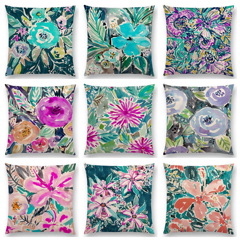 watercolor flowers hibiscus flourish coral floral gardens delight prints colorful cushion cover decor sofa throw pillow - Coral Decorative Pillows