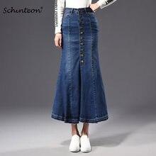 0a1b3ee39b Plus Size Flare Denim trompeta sirena falda primavera otoño Jeans Bodycon faldas  largas tobillo botón