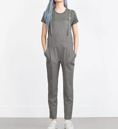 2016 Spring Women Fashion Grey pinstripe dungarees Full Pants Casual Striped Jumpsuit Wide straps Side pockets