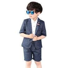 Summer Boys Suits Blazer Shorts 2 PCS Wedding for Plaid Formal Kids Clothes Gray Dresses