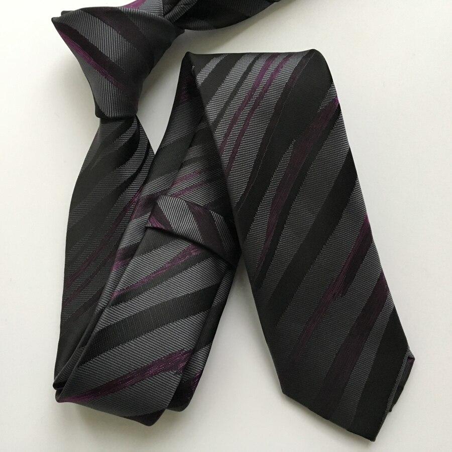 Go Buy Store  Designer Slim Tie High Quality Woven Neck Ties Fashion Zebra Purple Black Striped Gravata Free Shipping
