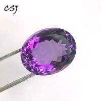 CSJ Real Natural Amethyst Loose Gemstone Pear Brilliant Concave Cut For Diy Fine Jewelry 925 Silver Gold Mounting Ring