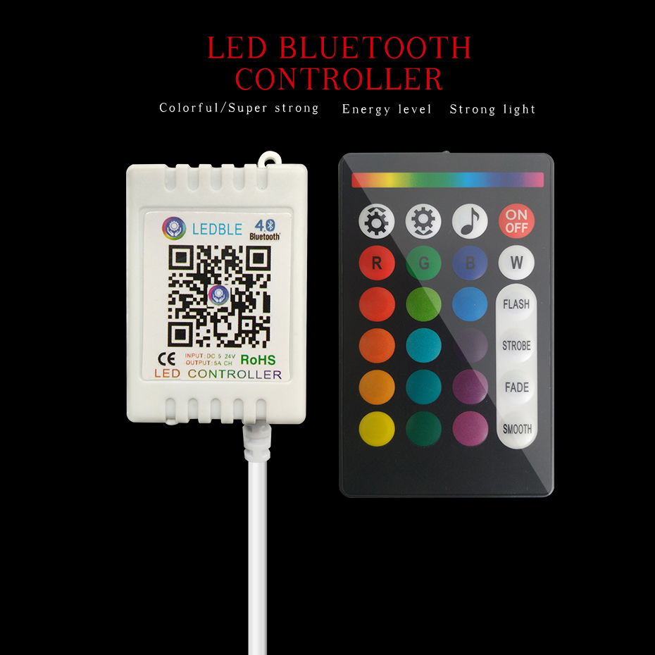 Music RGB RGBW Led Strip Controller Wireless RF 24 Keys Remote Control For Led Light RGB Controller Bluetooth Control 5-24V      (5)