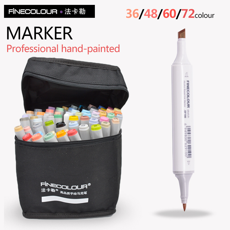 FINECOLOUR Markers Artist Architecture Sketch Marker Set 72 Colors Alcohol Based Manga Art Markers For Design Art Supplies Liner finecolour ef101 alcohol based art sketch twin marker brush non toxic markers for school supplies 24 36 48 72 color set in bag