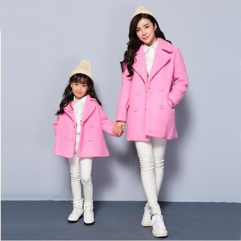 купить Maggie's Walker mother and girls spot solid warm coat children new Europe winter wool woolen tailored collar coat family coat дешево