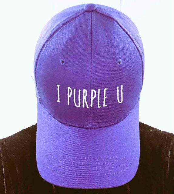 I PURPLE U EMBROIDERY BASEBALL CAP