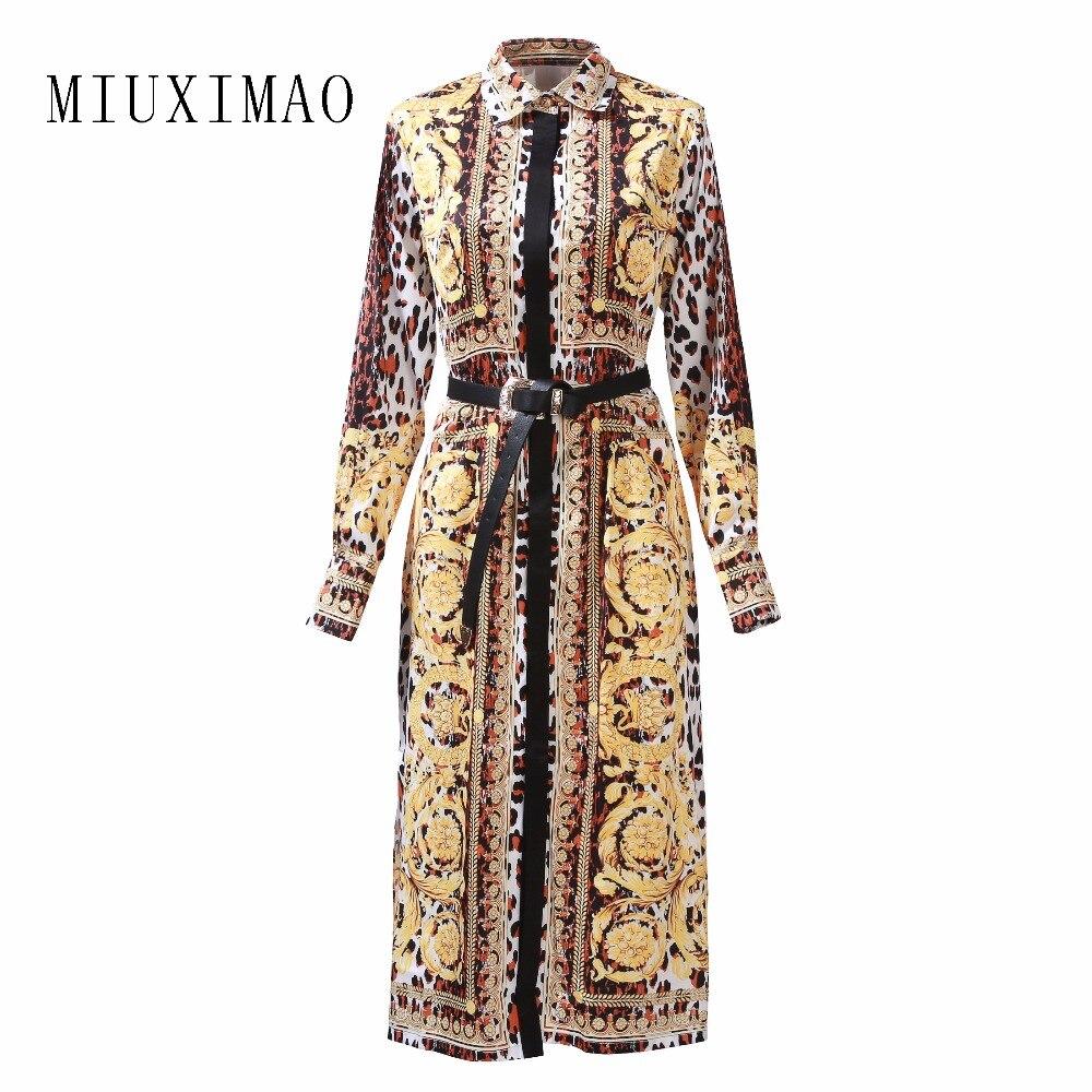Robe de grande taille personnalisé 2019 dernier Style décontracté à manches longues col rabattu imprimé élégant a-ligne mi-mollet longue robe femmes