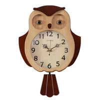 Parquet pendulum clock OWL Shaped | Wall Watch | pendulum clock | Animal clock | Quiet non ticking pendulum clock