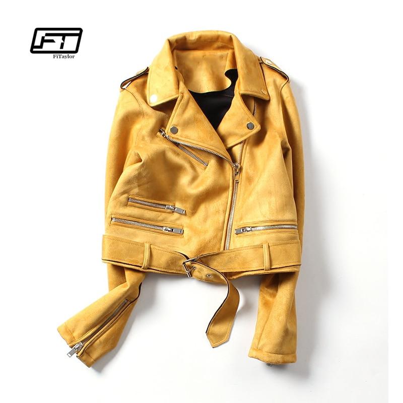 Fitaylor New Spring Faux Suede Jacket Women Biker Coat Basic Street Outwear Short Motorcycle Black Pink