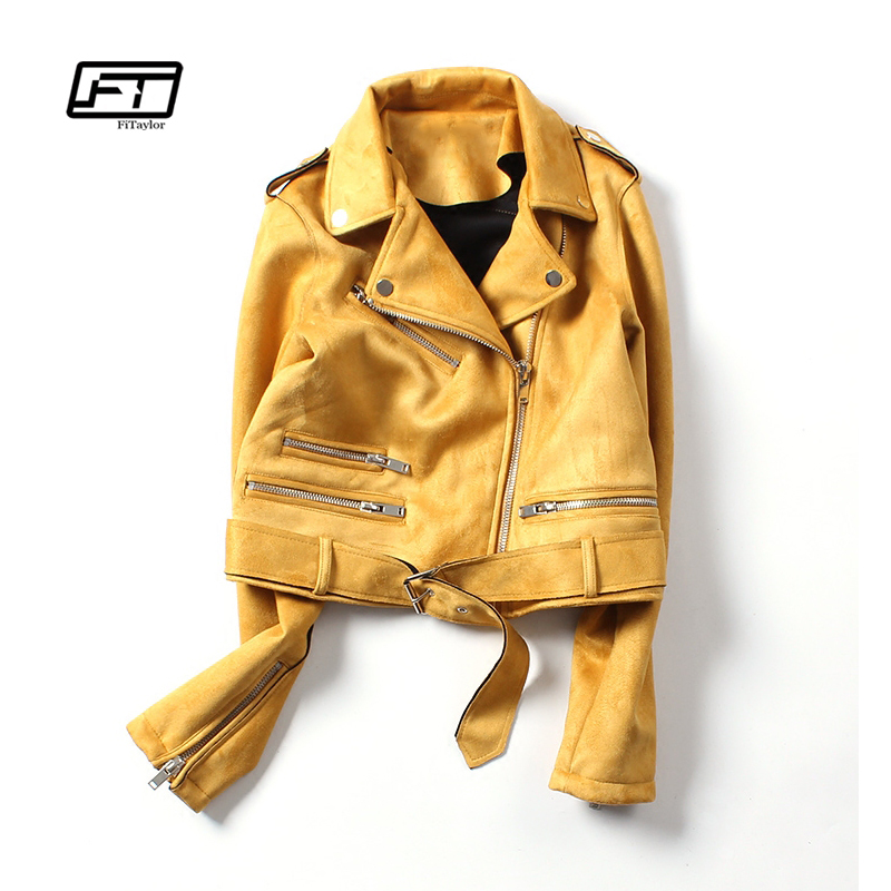 Fitaylor New Spring Faux Suede Jacket Women Biker Coat Basic Street Outwear Short Motorcycle Black Pink Yellow Leather Jacket