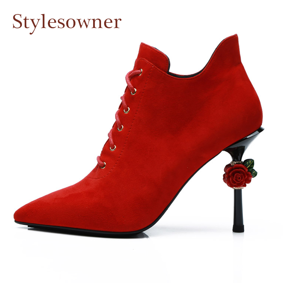 Stylesowner red sheep suede pointed toe women ankle boots rose flowers decoration 10cm stiletto heel winter new wedding shoes faux suede stiletto ankle boots dusty rose