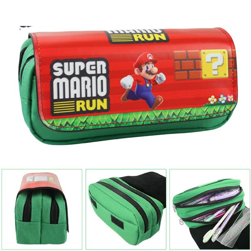 Cartoon Super Mario Pencil Case Cute Large Capacity Double Zipper Pen Bag Stationery Pouch Kids Gift School Supplies Escolar