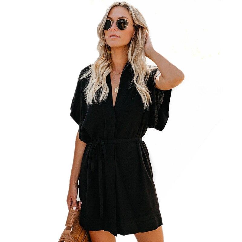 Casual Mini Shirt Dress Sexy Deep V-neck Short Sleeve Female Dresses Elegant Sashes Robe Black Women Summer Dress Fashion 2019