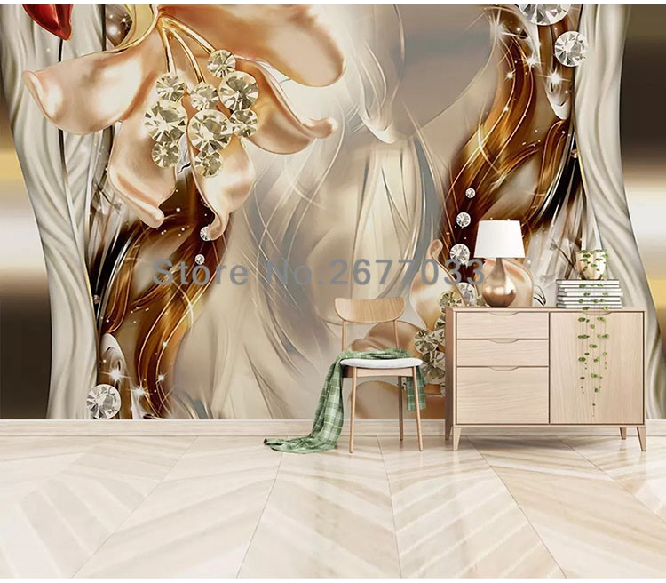 Jewelry Flower Mural Wall Papers For Living Room