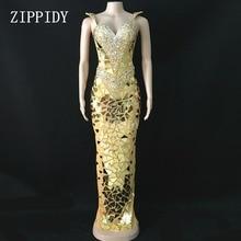 3 colores brillantes lentejuelas espejos vestido de noche mujer cumpleaños vestidos de traje de baile celebrar Grey Bling vestidos