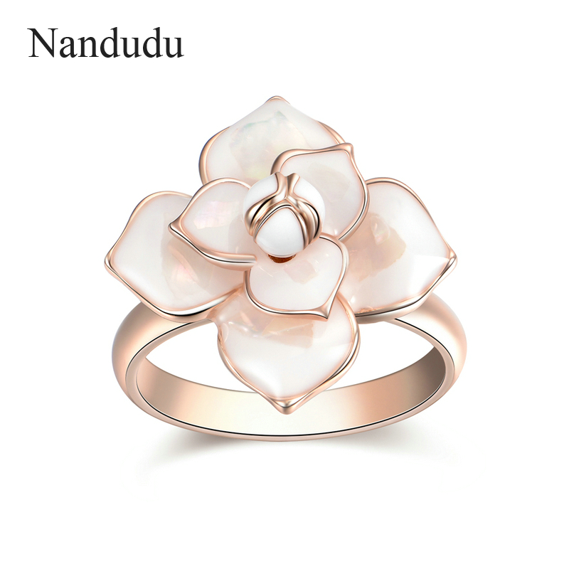 Nandudu Kualitas Tinggi Hot Sale Blooming Enamel Flower Rings Bridal - Perhiasan fashion - Foto 2