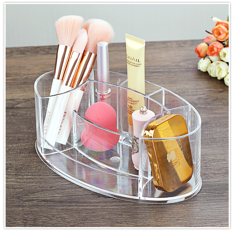 Tabletop Transparent Makeup Organizer Made of Acrylic for Storage of Lipstick Makeup Brush Nail Polish and Cosmetics of Women 9