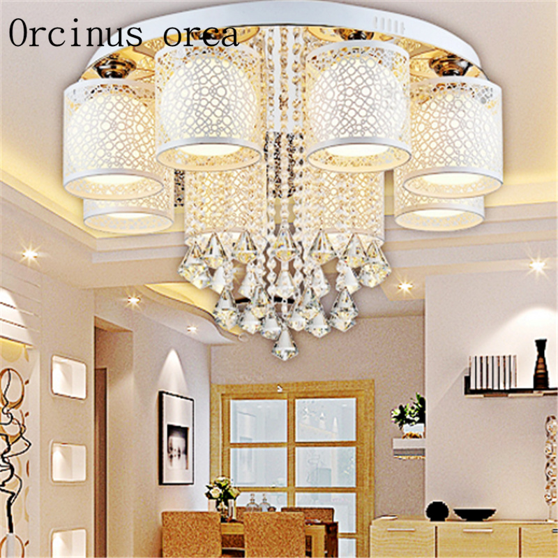 2017 New Round LED Crystal Ceiling Light For Living Room Indoor Lamp with Remote Controlled home decoration free shipping dia32cm 43cm 56cm hot selling vintage creative wicker round pedant light living room home decoration lamp free shipping pll 417