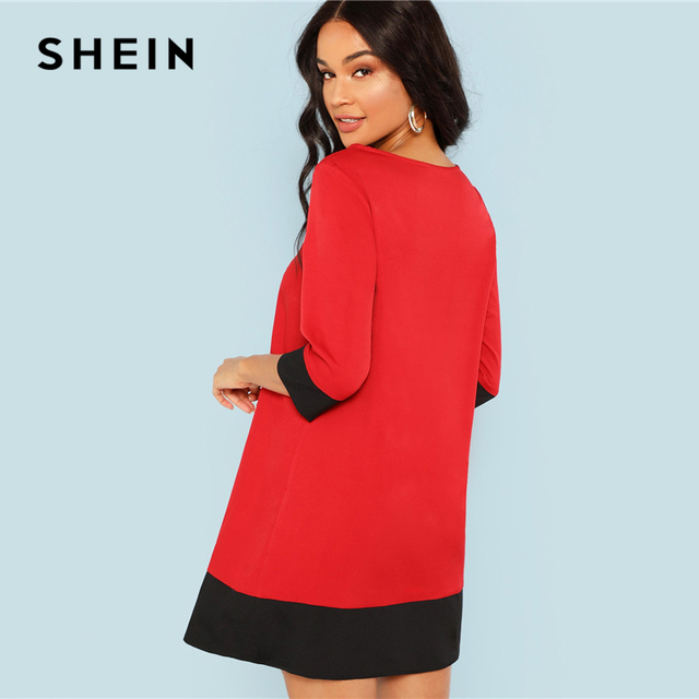SHEIN Red Contrast Trim Tunic Dress Workwear Colorblock 3/4 Sleeve Short Dresses Women Autumn Elegant Straight Mini Dresses 2
