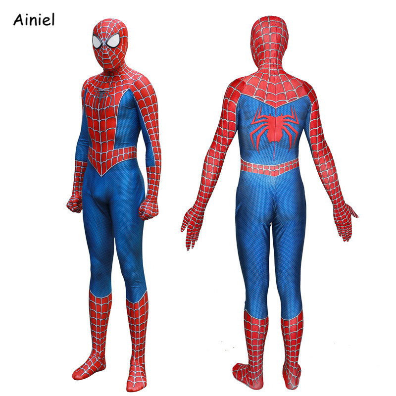 Kids Adult Spider Man 3 Raimi Spiderman Cosplay Costume Spider Man Suit Superhero Bodysuit Jumpsuits Boys
