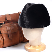 Men's 100% Genuine Mink Fur Whole skin luxurious middle aged cap Winter Warm Beret Top Hat Fedora hat Caps/hats