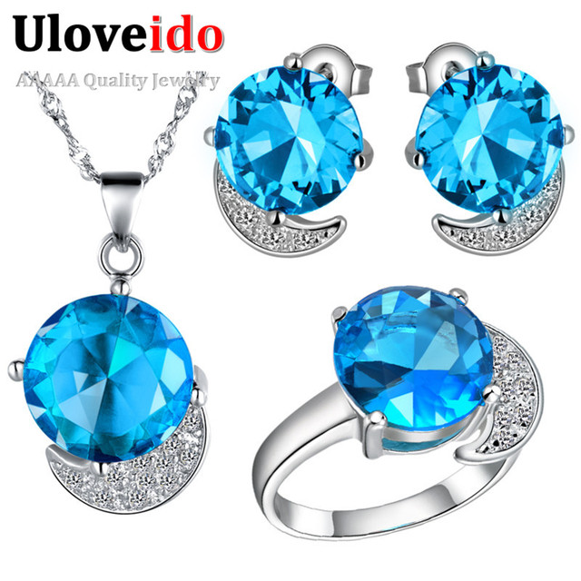 Uloveido Women's Jewelry Sets Silver Plated Round Blue/Purple/Red Crystal Cubic Zirconia Jewelry Gifts Set bijuterias Anel T216