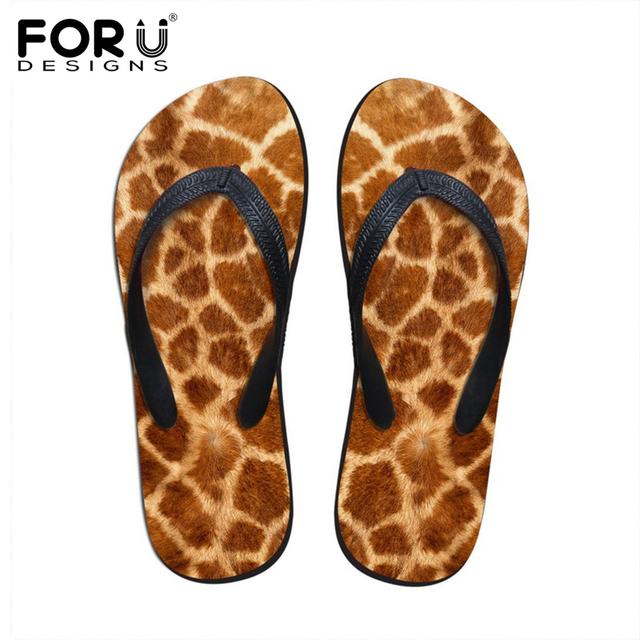 3D Animal Fur Printed Beach Flip Flops