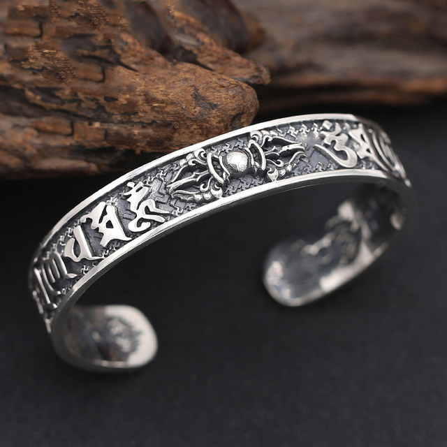 925 Sterling Thai Silver Bangle Men Jewelry Buddha Mantra Instruments Bracelet Bangle Women Gift Fine Jewelry Thailand B6 3