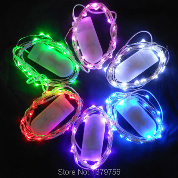 White flat coin battery box 30pcs 2M 20leds many colors led tiny ...