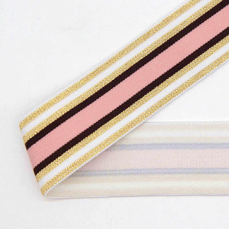 Ouro Prata Tarja Sacos de Roupas Calças Elásticas Elásticos 40MM Fita Elástica de Borracha 4 CENTÍMETROS Webbing DIY Acessórios de Costura