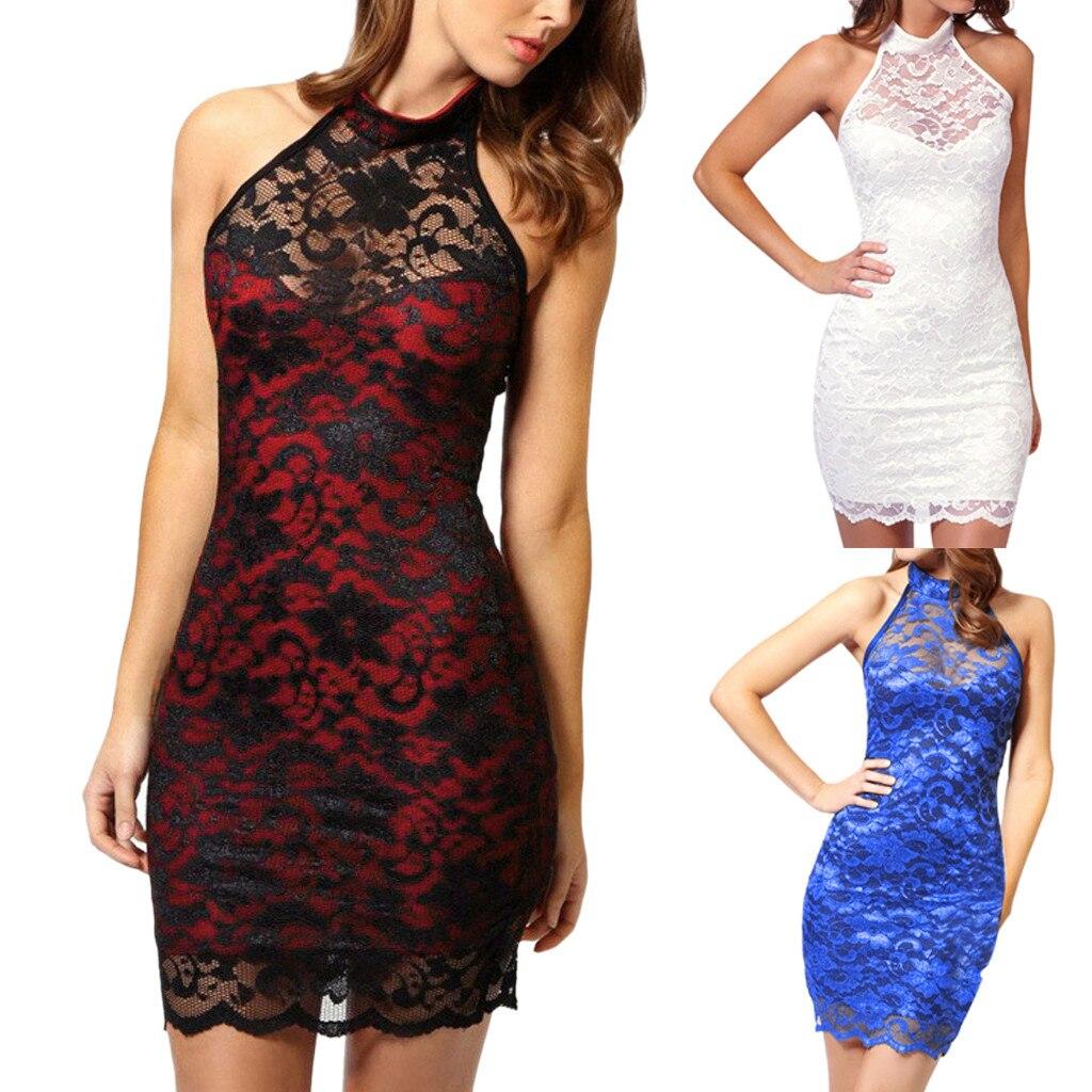 b799a8ac4e 2019New Spring Fashion Sexy Women Lace Slim Dress Elegant Halter ...