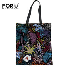 FORUDESIGNS Canvas Women's Shopper Bags 3D Rainforest Printed Multifunction Ladies Travel Handbags Shopping Bags for Girls Mom(China)