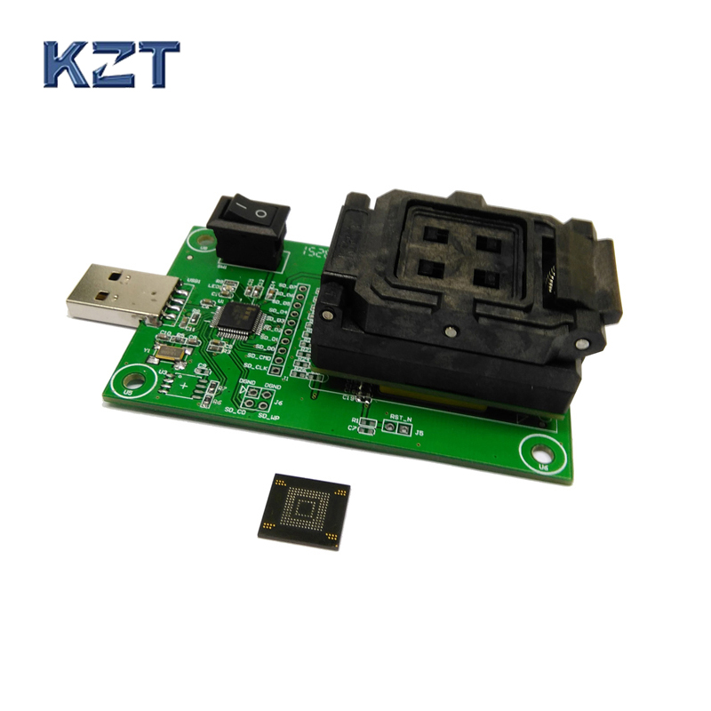 все цены на eMMC153/169 socket with USB nand flash test socket size 14x18 Pin Pitch 0.5mm for BGA169 BGA153 testing Clamshell Structure онлайн