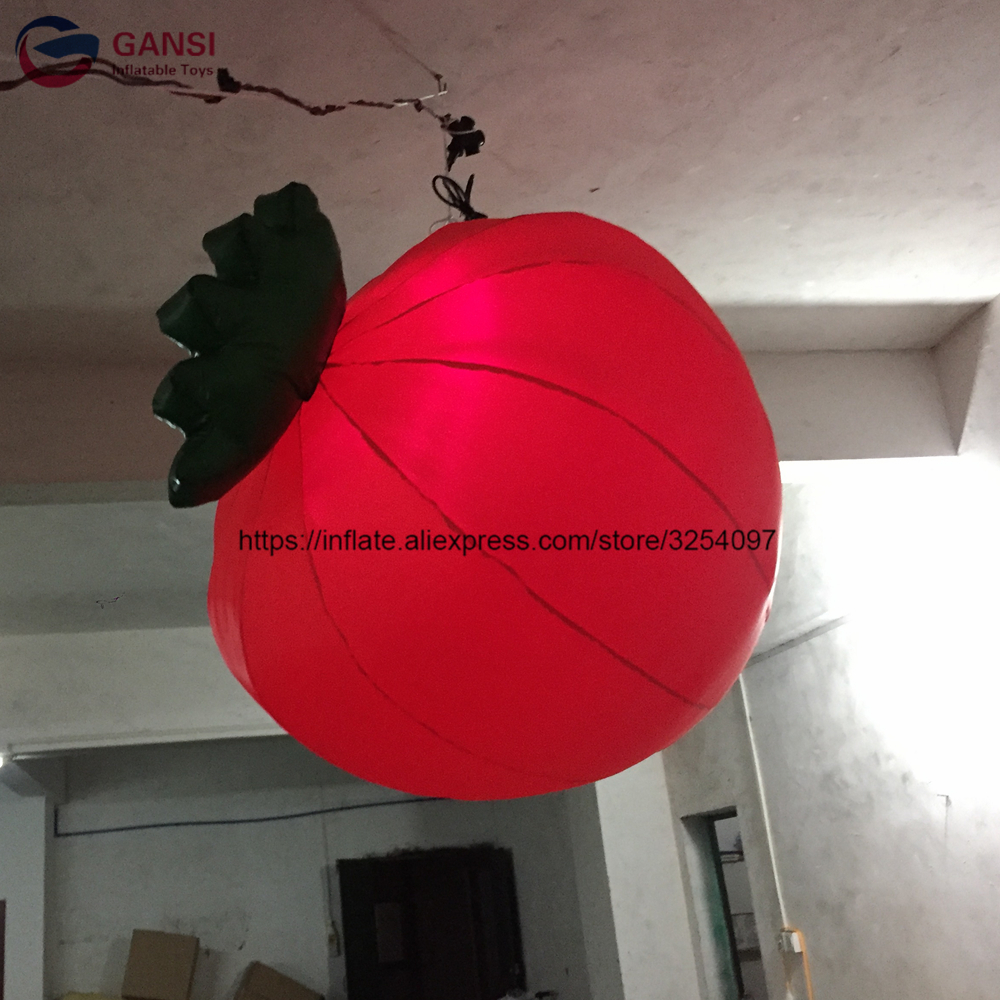 Customized inflatable led hanging balloon giant inflatable strawberry balloon with led lightCustomized inflatable led hanging balloon giant inflatable strawberry balloon with led light