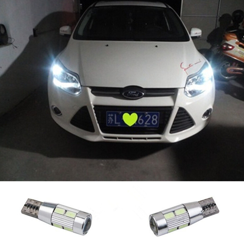 2 X T10 LED W5W Car LED <font><b>Auto</b></font> Lamp 12V Light <font><b>bulbs</b></font> with Projector Lens <font><b>For</b></font> Ford Focus 3 2 1 mondeo mk4 transit fiesta fusion image