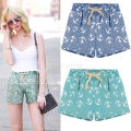 Fashion Women Lady Sexy Hot Shorts Anchor Printed Loose Quality Summer Casual Shorts High Waist Beach Clothing