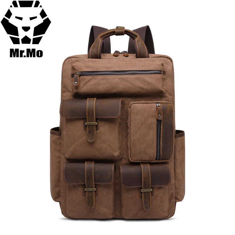 Men backpack Canvas+Cowhide Big Travel School Shoulder Waterproof Backpack Functional Versatile Bags Multifunctional Laptop Bag