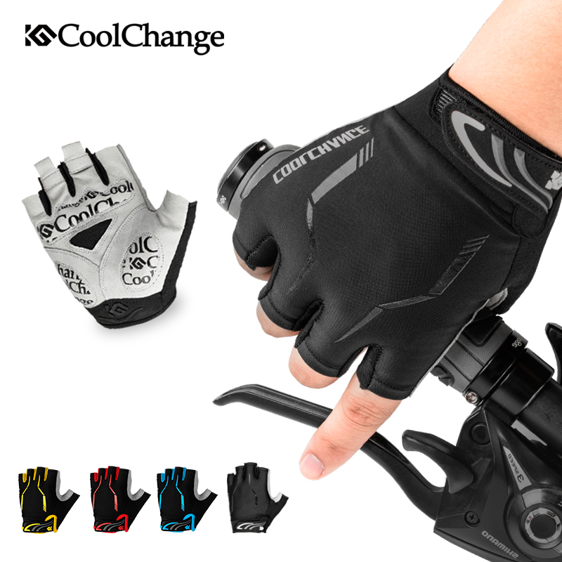 CoolChange Cycling Bike Half Finger Gloves Shockproof Breathable Unisex Nylon Mountain Bicycle Gloves Sports Gloves Accessories coolchange cycling gloves half finger shockproof breathable gel bike gloves mtb mens women s sports anti slip bicycle gloves