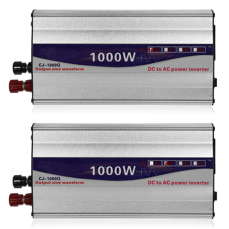1Set LED Display 1000W Pure Sine Wave Power Inverter 12V 24V To 220V Converter Transformer Power