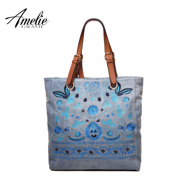 AMELIE GALANTI fashion shoulder bag for women original design embroidery floral totes soft casual half moon shopping bag 2017
