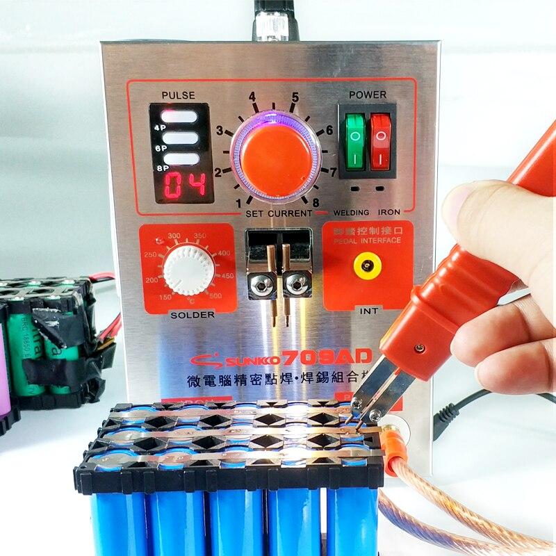SUNKKO 709AD точечной сварки 2.2KW высокой мощности батареи цифровой дисплей мобильного пайки точечной сварки 18650 импульса точечной сварки 110 230 В