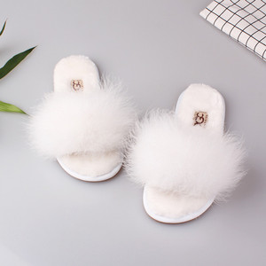 Image 1 - Spring Summer Women Home Plush Slippers With Fur Ladies Indoor Floor Bedroom zapatos de mujer Flat Shoes Free Shipping