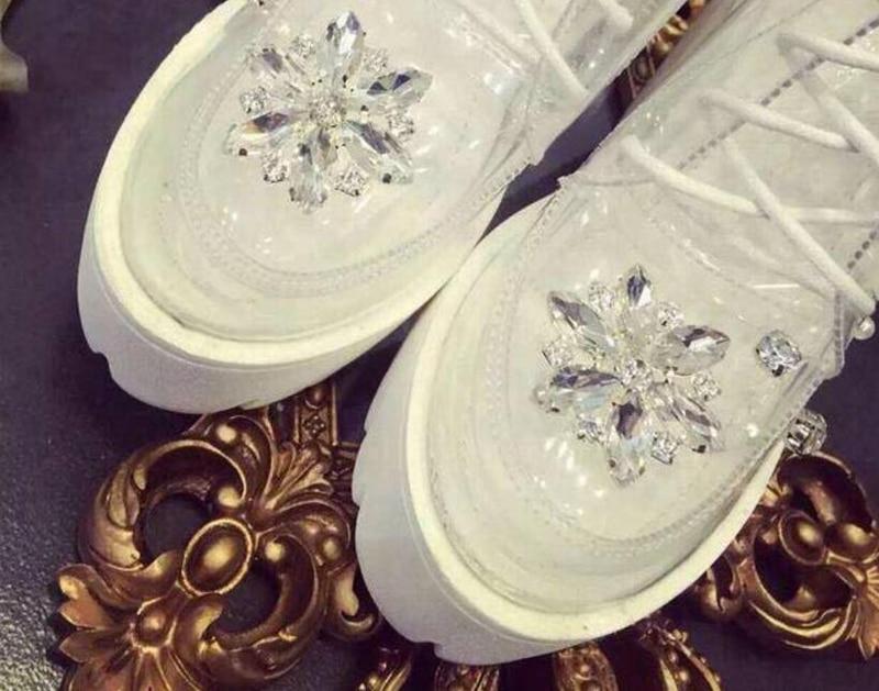Strass Talon Pvc 1 Plate Cristal Haut Embelli Femme Color De Chaussures forme Dentelle Chunky Douce Fleur Bottines Mariage Perles Pompes En UPpcwcytq