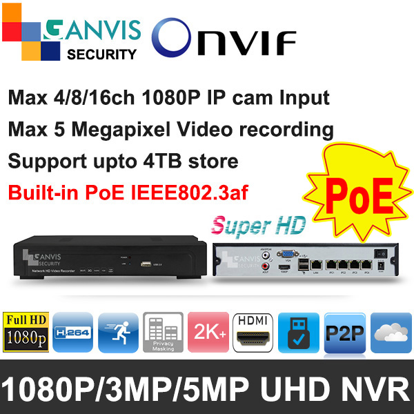 Super HD mini NVR PoE 4ch 8ch P2P ONVIF Support hik vision dahua etc multi brand