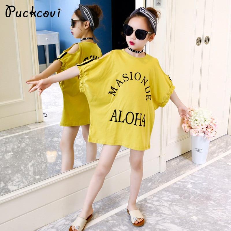Girls t-shirt 2018 Summer off shoulder tshirt Kids clothes Girl Costumes Youth Girl Yellow tshirt Fashion Printted T-shirts