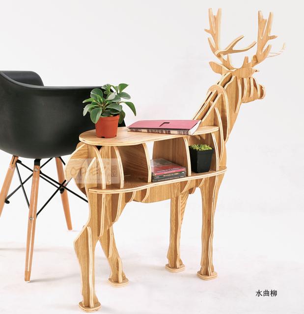 100% madeira de bétula tabela veados Europeus DIY Artes E Ofícios de Decoração Para Casa veados artesanato em madeira mesa presente auto-construção de puzzle móveis