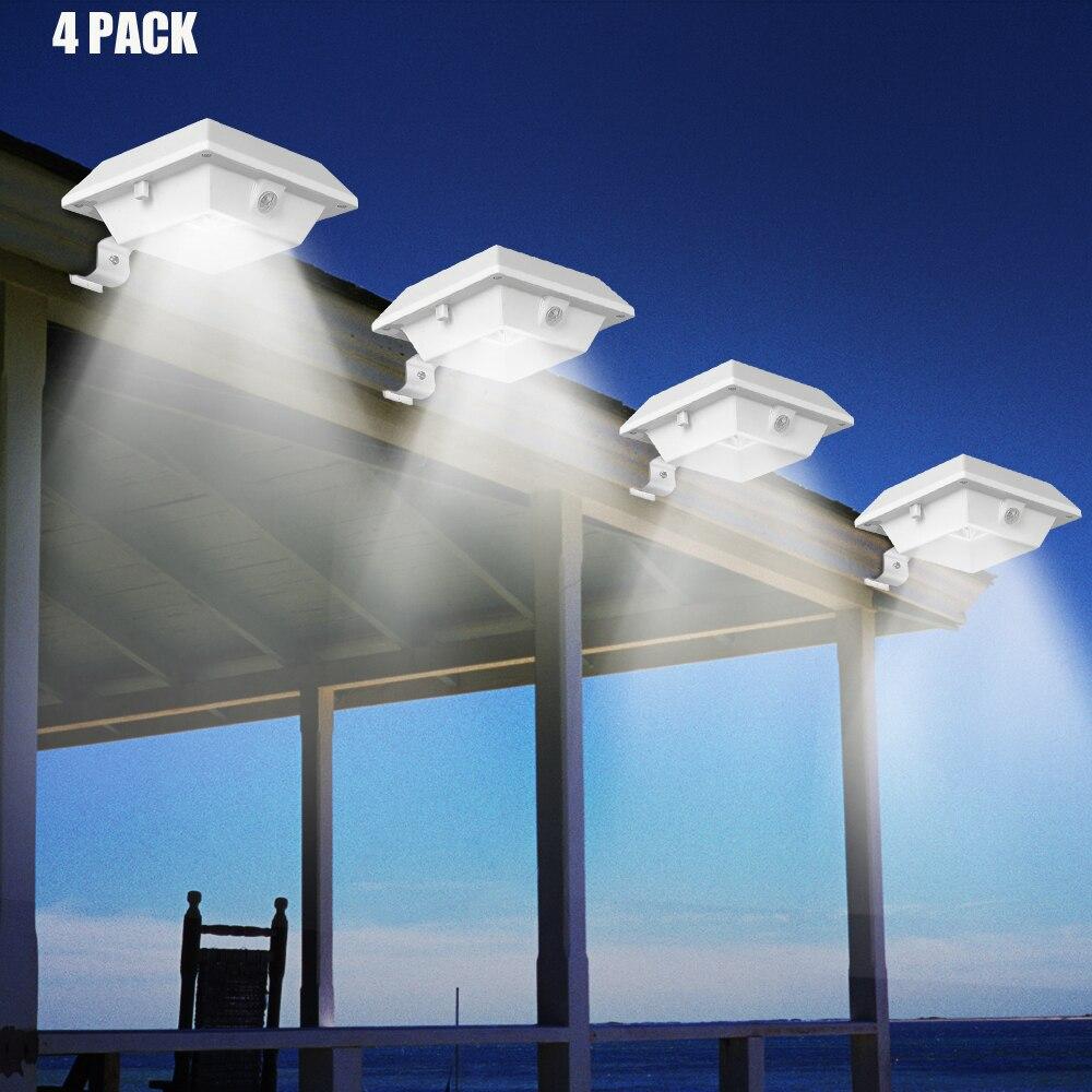 T-SUNRISE 4PCS PACK Solar Gutter Light Motion Sensor 12 LEDs Solar Light Outdoor Solar Lighting Path Light for Garden Security
