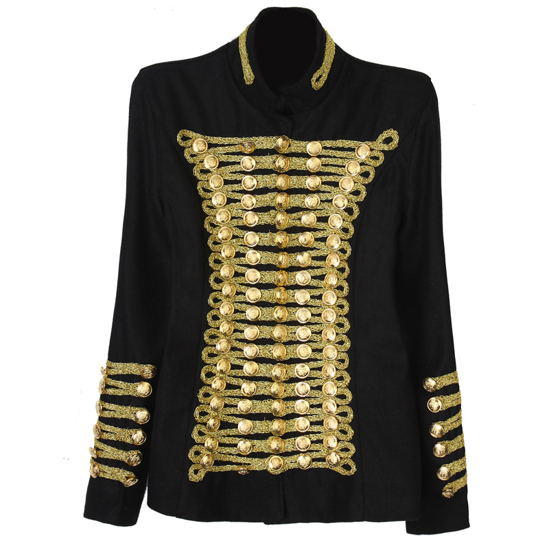 BAROCCO Unique Runway Fashion Rock Punk Jacket Women's Wool Blends Gold Buttons Army Napoleon Jacket